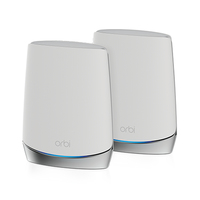 Netgear Orbi WiFi6 wireless router Tri-band (2.4 GHz / 5 GHz / 5 GHz) Gigabit Ethernet Stainless steel,White