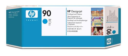 HP 90 cyaan DesignJet printkop en printkopreiniger