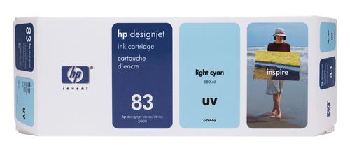 HP 83 680-ml Light Cyan DesignJet UV Ink Cartridge inktcartridge 1 stuk(s) Origineel Lichtyaan