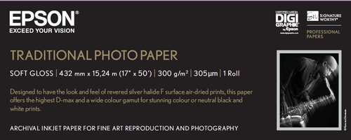 """Epson Traditional Photo Paper, 17""""x 15m"""