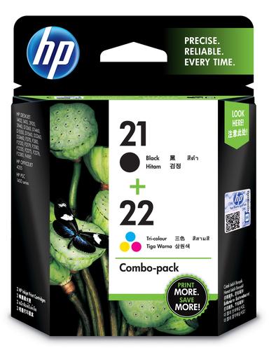 HP 21 originele zwarte/22 drie-kleuren inktcartridges, 2-pack