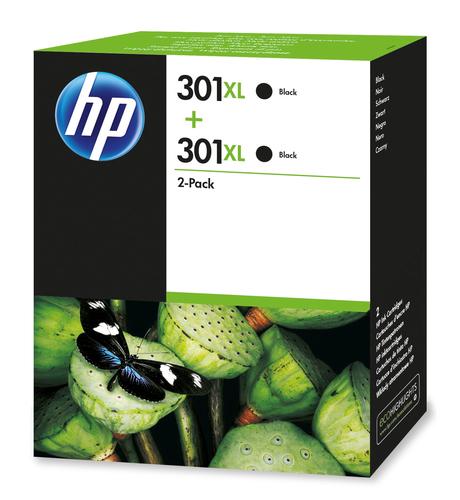 HP 301XL originele high-capacity zwarte inktcartridges, 2-pack