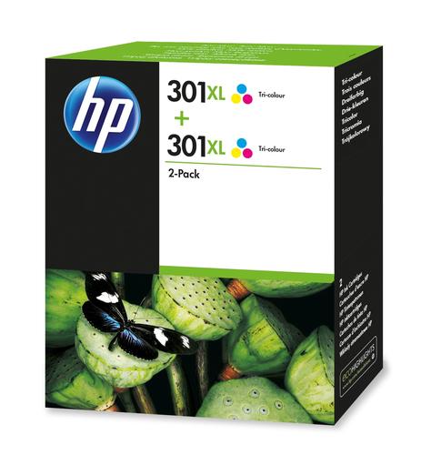 HP 301XL originele high-capacity drie-kleuren inktcartridges, 2-pack