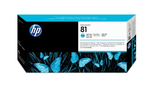 HP 81 licht-cyaan DesignJet printkop en printkopreiniger voor kleurstofinkt