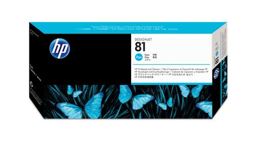 HP 81 cyaan DesignJet printkop en printkopreiniger voor kleurstofinkt