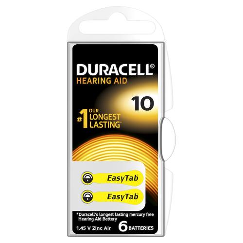 Duracell Hearing Aid-batterijen maat 10, verpakking van 6