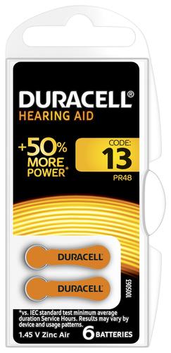 Duracell Hearing Aid-batterijen maat 13, verpakking van 6
