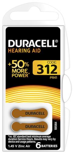 Duracell Hearing Aid-batterijen maat 312, verpakking van 6