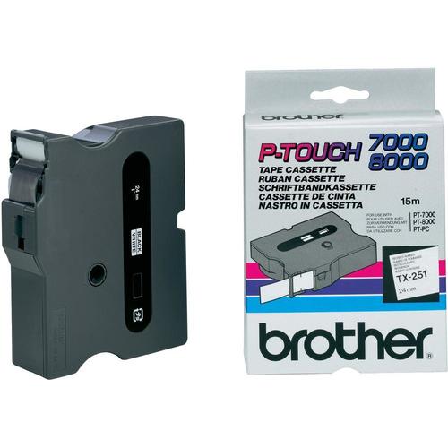 Brother TX-251 labelprinter-tape Zwart op wit