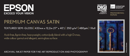 "Epson Premium Satin Canvas, 17"" x 13 m, 350g/m²"