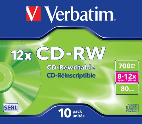 Verbatim CD-RW 12x 700 MB 10 stuk(s)