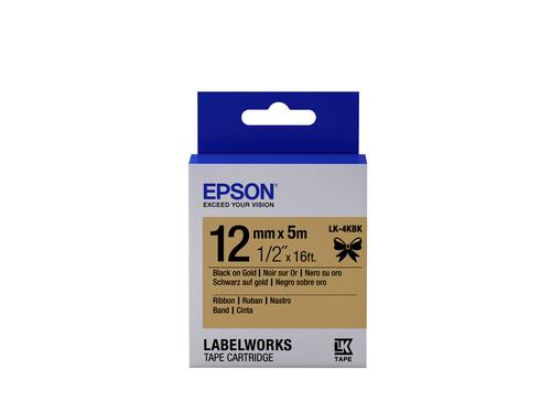 Epson Label Cartridge Satin Ribbon LK-4KBK Black/Gold 12mm (5m)
