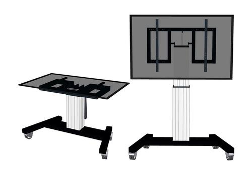 "Newstar PLASMA-M2500TSILVER 100"" Portable flat panel floor stand Zilver flat panel vloer standaard"