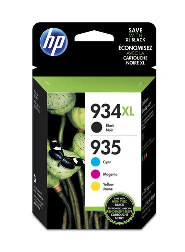 HP 934XL High Yield Black/935XL Cyan/Magenta/Yellow 4-pack inktcartridge Origineel Hoog (XL) rendement Zwart, Cyaan, Magenta, G