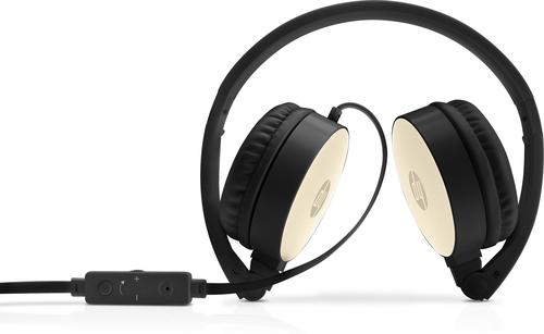 HP H2800 mobile headset Binaural Head-band Black, Gold Wired