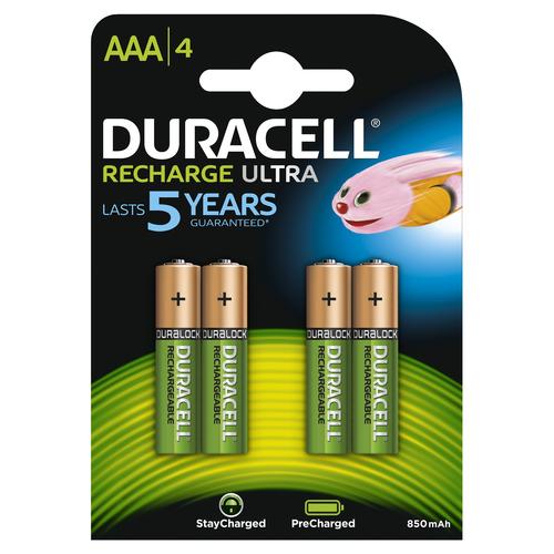 Duracell Recharge Ultra AAA-batterijen, verpakking van 4