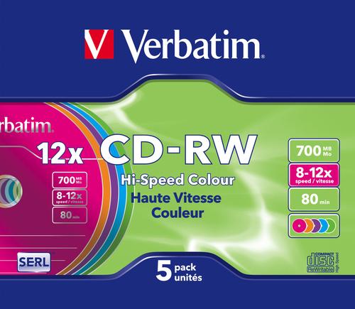 Verbatim CD-RW Colour 12x 700 MB 5 stuk(s)