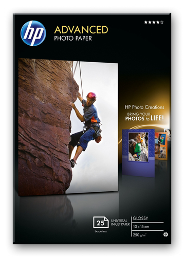 HP Advanced Photo Paper, glanzend, 25 vel, 10 x 15 cm randloos