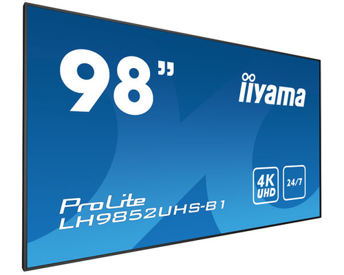 "iiyama LH9852UHS-B1 beeldkrant 2,49 m (98"") LED 4K Ultra HD Digital signage flat panel Zwart"