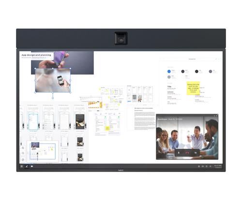 "NEC InfinityBoard 2.1 139,7 cm (55"") LED 4K Ultra HD Touchscreen Interactief flatscreen Zwart Type processor Windows 10 Pro"