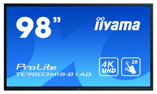 "iiyama ProLite TE9803MIS-B1AG touch screen-monitor 2,48 m (97.5"") 3840 x 2160 Pixels Multi-touch Multi-gebruiker Zwart"