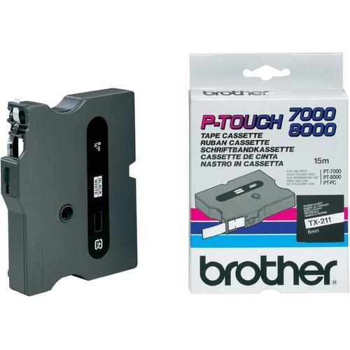 Brother TX-211 labelprinter-tape Zwart op wit