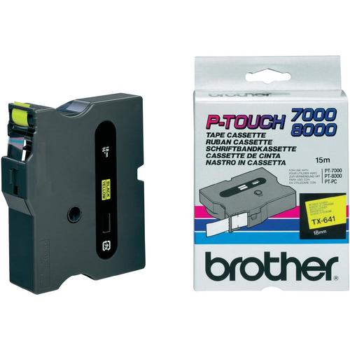 Brother TX-641 labelprinter-tape Zwart op geel