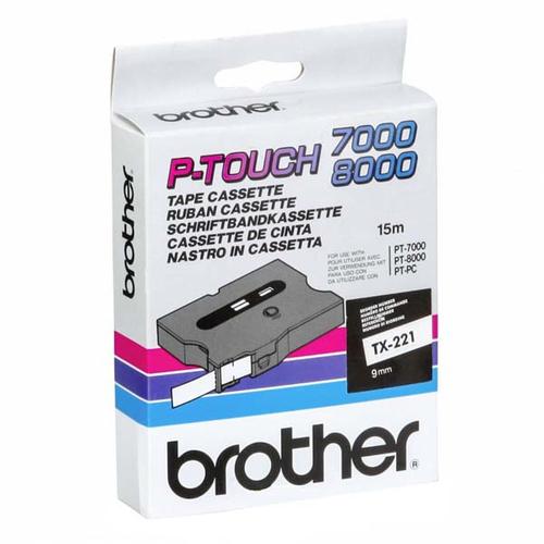 Brother TX-221 labelprinter-tape Zwart op wit