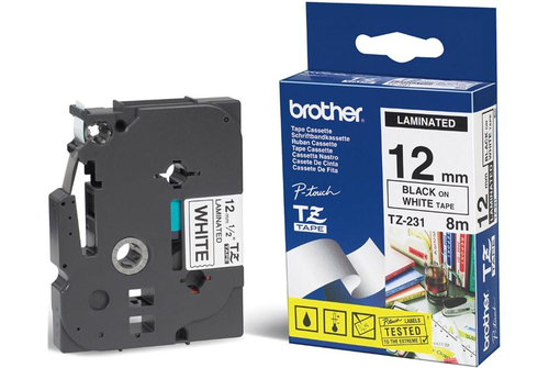 Brother TX-231 labelprinter-tape Zwart op wit