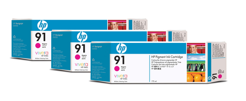 HP 91 3-pack 775-ml Magenta DesignJet Pigment Ink Cartridges inktcartridge Origineel