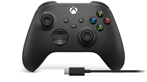 Microsoft Xbox Wireless Controller + USB-C Cable Zwart Gamepad Analoog/digitaal PC, Xbox One, Xbox One S, Xbox One X, Xbox Seri
