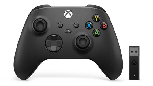 Microsoft Xbox Wireless Controller + Wireless Adapter for Windows 10 Zwart Gamepad PC, Xbox One, Xbox One S, Xbox One X, Xbox S