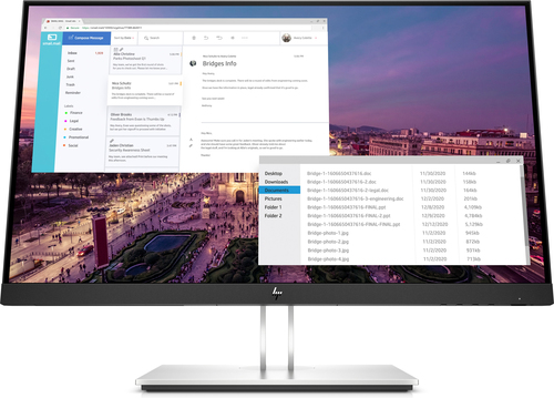 "HP E23 G4 58.4 cm (23"") 1920 x 1080 pixels Full HD Black, Silver"