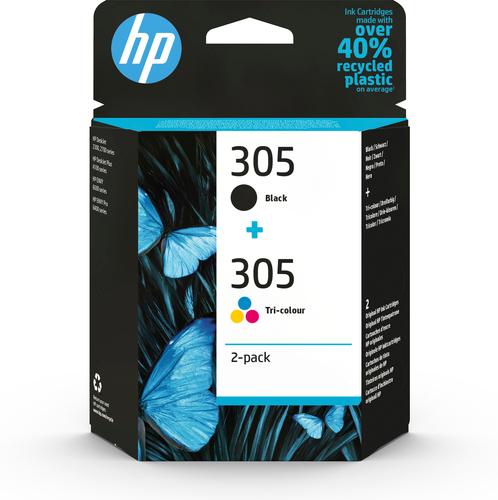 HP 305 2-Pack Tri-color/Black Original Ink Cartridge inktcartridge 2 stuk(s) Origineel Normaal rendement Zwart, Cyaan, Magenta,