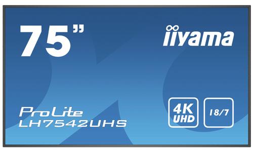 "iiyama PROLITE LH7542UHS-B3 Digitale signage flatscreen 189,2 cm (74.5"") IPS 4K Ultra HD Zwart Type processor Android 8.0"