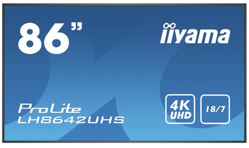 "iiyama LH8642UHS-B3 beeldkrant Digitale signage flatscreen 2,17 m (85.6"") IPS 4K Ultra HD Zwart Type processor Android 8.0"