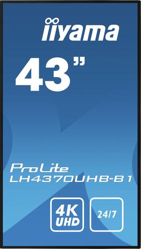 "iiyama LH4370UHB-B1 beeldkrant Digitale signage flatscreen 108 cm (42.5"") VA 4K Ultra HD Zwart Type processor Android 9.0"