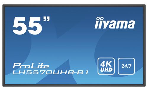 "iiyama LH5570UHB-B1 beeldkrant Digitale signage flatscreen 138,7 cm (54.6"") VA 4K Ultra HD Zwart Type processor Android 9.0"