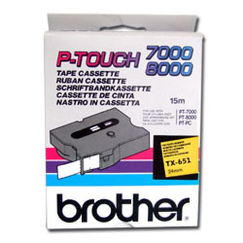 Brother TX-651 labelprinter-tape Zwart op geel