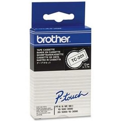 Brother TC-201 labelprinter-tape Zwart op wit