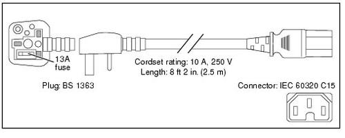 Cisco 7500 SERIES AC POWERCORD UK 2,5 m