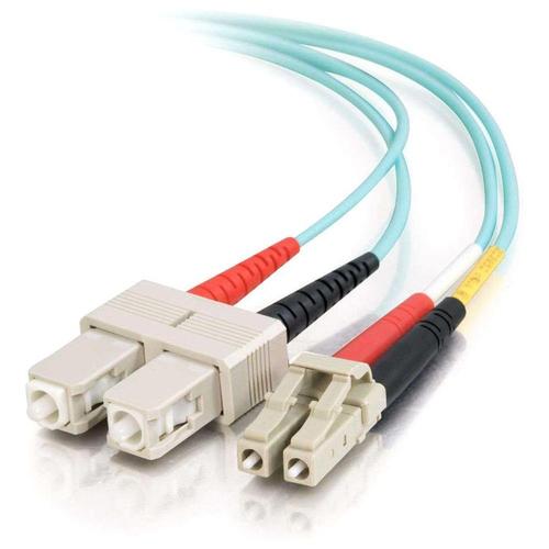 C2G 85536 10m LC SC Turquoise fiber optic cable
