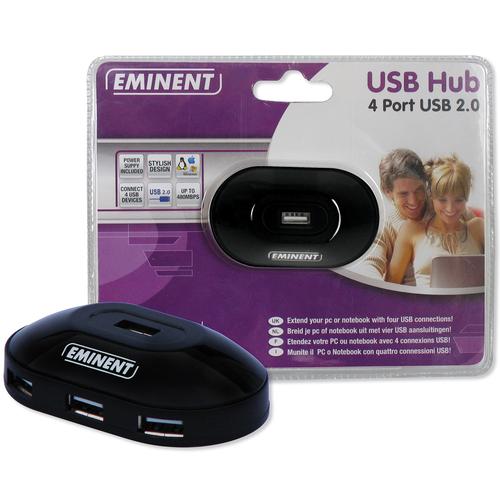 Eminent USB Hub 480 Mbit/s Zwart