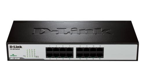 D-Link DES-1016D Unmanaged Fast Ethernet (10/100) Black