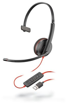 POLY BLACKWIRE 3210 WIRED OVER-THE-HEAD MONO HEADSET - SUPRA-AURAL - 20 HZ TO 20 KHZ - NOISE REDUCTION, NOISE CANCELLING MICROPHONE - USB TYPE A